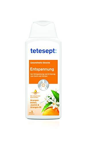 tetesept Entspannung Duschgel | Zur Entspannung und Erholung von Körper und Geist | Mit natürlichen Wirkstoffen: Orangenöl, Orangenblüten- & Jasmin-Extrakt| Intensiver Duft | 5 x 250ml