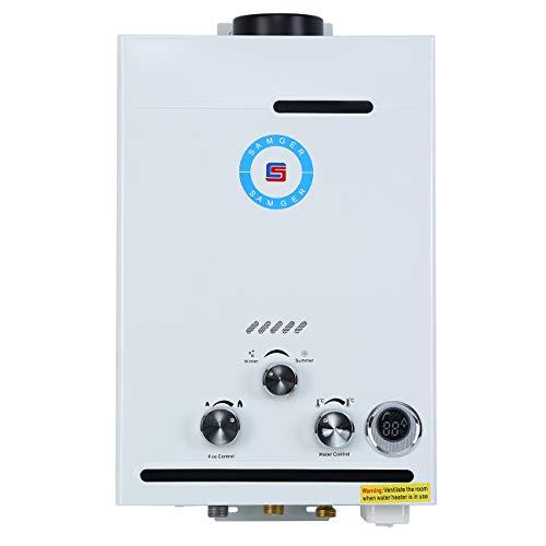 Samger 8L Calentador de Agua sin Tanque Pantalla LPG Digital 1.5 GPM...