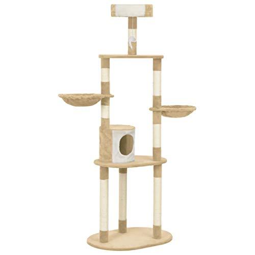 Festnight Katzen Kratzbaum mit Sisal-Kratzsäulen | Katzenkratzbaum mit Sisal | Stabiler Kletterbaum | Katzen-Kratzbaum | Beige 70 x 50 x 180 cm