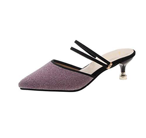 SHANG Sandales Baotou Talon Haut Pointu Confortable Dames Stiletto antidérapantes