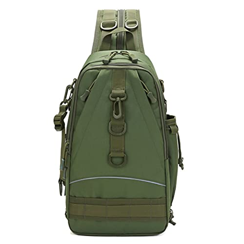 QXPDD Fishing Tackle Backpack with Rod Holder Oxford Cloth Fishing Gear Bag Outdoor Backpack Large Fishing Gear Bag,Army Green