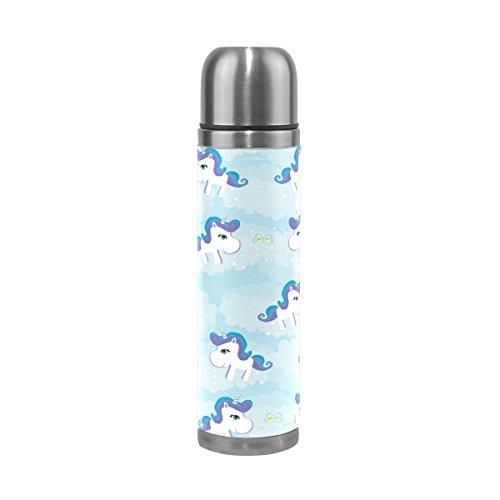 Ffy Go Travel Mug, Licorne Impression personnalisé Thermos en acier inoxydable LeakProof Thermos isotherme extérieur Cuir pour filles garçons Bleu 500 ml