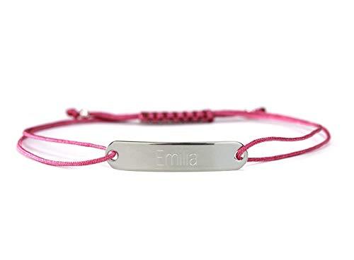 SCHOSCHON Gravurarmband mit personalisierter Gravur 925 Silber – Fuchsia // Geschenk Mädchen Teenager ID-Armband Namensarmband Identitätsarmband - 20 Farben