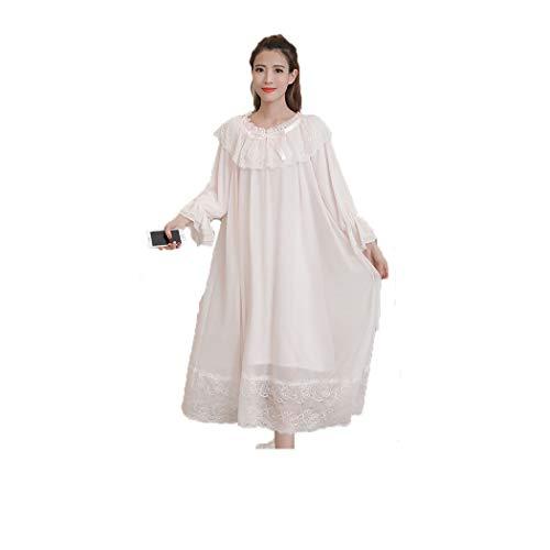 Packitcute Baumwolle Nachthemd für Frauen Süße Retro Seide Lose Spitze Lange Ärmel Prinzessin Pyjamas (Rosa, M(44-50KG))
