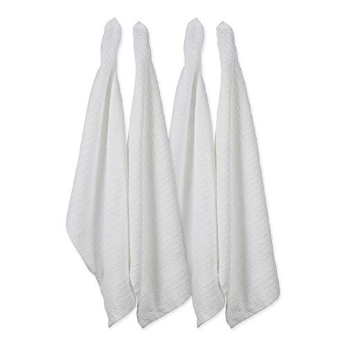 """DII Cotton Waffle Terry Dish Towels, 15 x 26"""" Set of 4, Ultra Absorbent, Heavy Duty, Drying & Cleaning Kitchen Towels-White"""