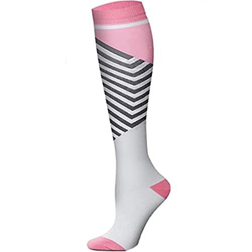 2 Pares de Calcetines de compresión Marathon Running Calcetines Deportivos Hombres Mujeres 30 mmHg hasta la Rodilla para Edema médico Diabetes Varices-a84-S-M