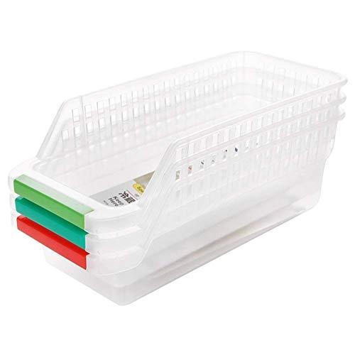 Organizador de nevera, 3 cajones, cajones extraíbles para nevera, almacenamiento de capa espaciadora fresca, cajas de almacenamiento de cocina (3 unidades, como se muestra)