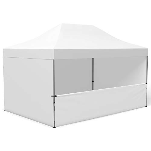 Vispronet Profi Faltpavillon/Faltzelt Basic 3x4,5 m, Weiß, 4 Wände/Davon 1 Halbhohe Zeltwand, Stahl-Scherengitter, faltbar (weitere Farben & Größen)