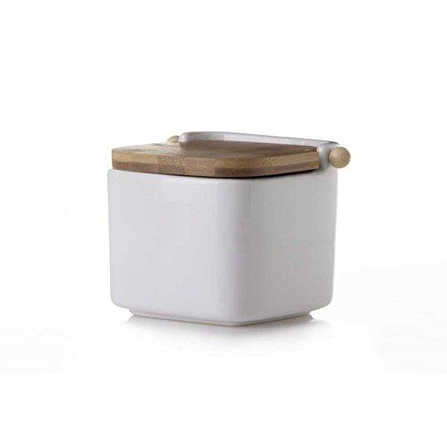 D'CASA Salero Cuadrado de cerámica Blanco con Tapa de bambú, 12x12x10.5 cm