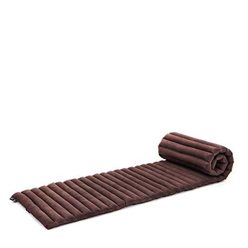 Leewadee Rollbare Thai Matte, 200x50x5 cm, Platzsparende Gästematratze für 1 Person Yogamatte Massagematte Ökologisches Naturprodukt, Kapok, braun