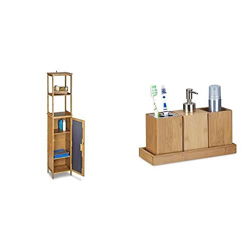 Relaxdays Badregal Bambus mit 5 Ablagen, Standregal mit Schranktür HxBxT: 170 x 33,5 x 28 cm, Badschrank stehend, Natur & Bad-Accessoires-Set 4-teilig, Bambus, Zahnbürstenhalter, Seifenspender