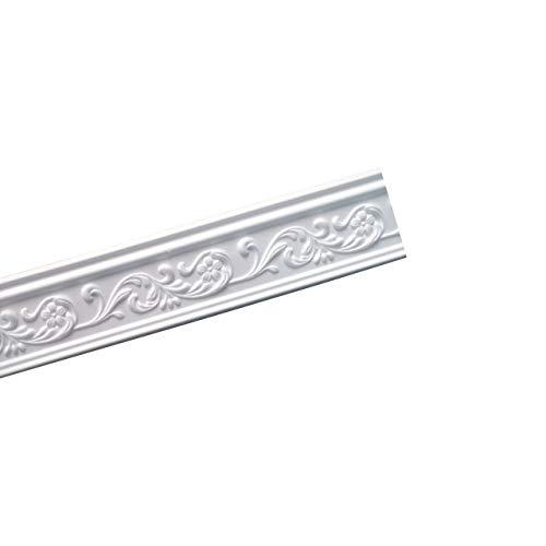 A la Maison Ceilings GK83 Floral DIY Glue-up Foam Crown Molding (Pack / 32.5 ln. ft.), White