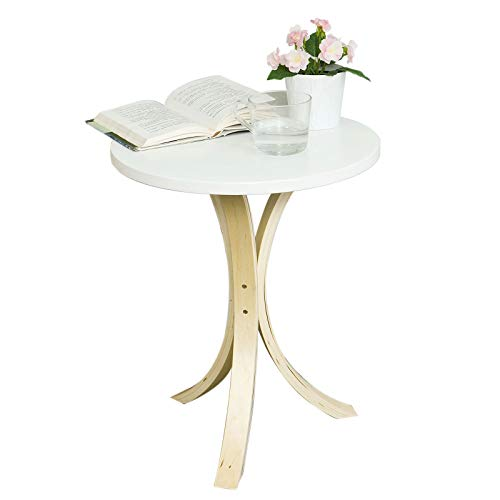 SoBuy FBT29-W, Round Wooden Side Table, Tea Coffee Table, Telephone Table
