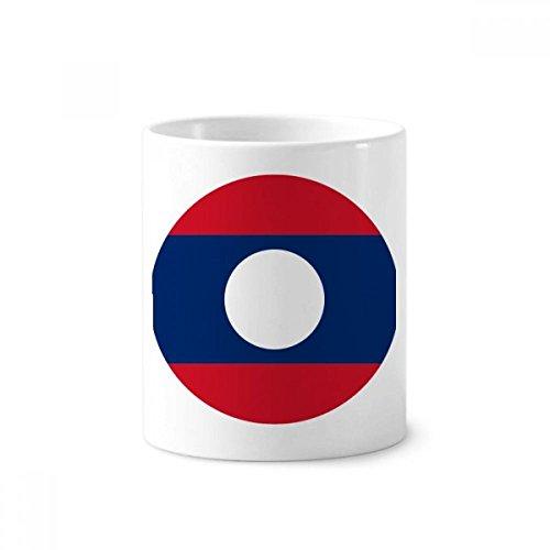 Laos National Flagge Asiatische Symbol Keramik Zahnbürste Stifthalter Becher weiß Tasse 350ml Geschenk
