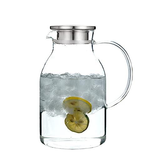 NgMik CARAFES Y JARAS 2l jarras de Agua con Hielo frío con Hielo frío Botella de Agua Jarra de té Lanzador de Vino Leche de Vidrio Cristal para Botellas de Leche de Vidrio. (Color : Clear, Size : 2L)