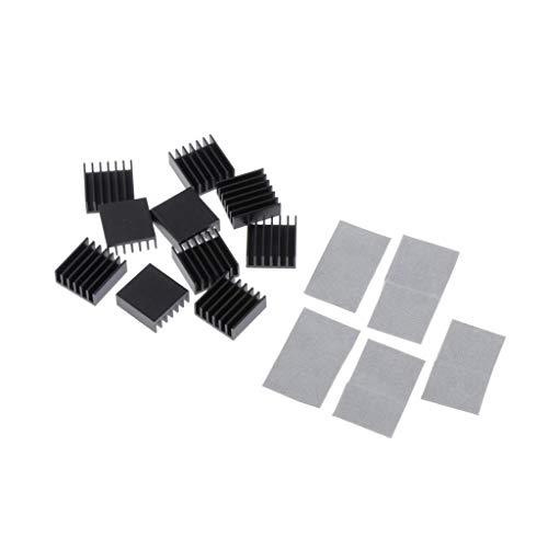H HILABEE 10tlg Aluminium Kühlkörper Kühlmodul für Hochleistungs LED Verstärker Grafikkarte Transistor, 14 x 14 x 6 mm