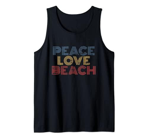 Peace Love Beach vacaciones de verano vintage 70s 80s Camiseta sin Mangas