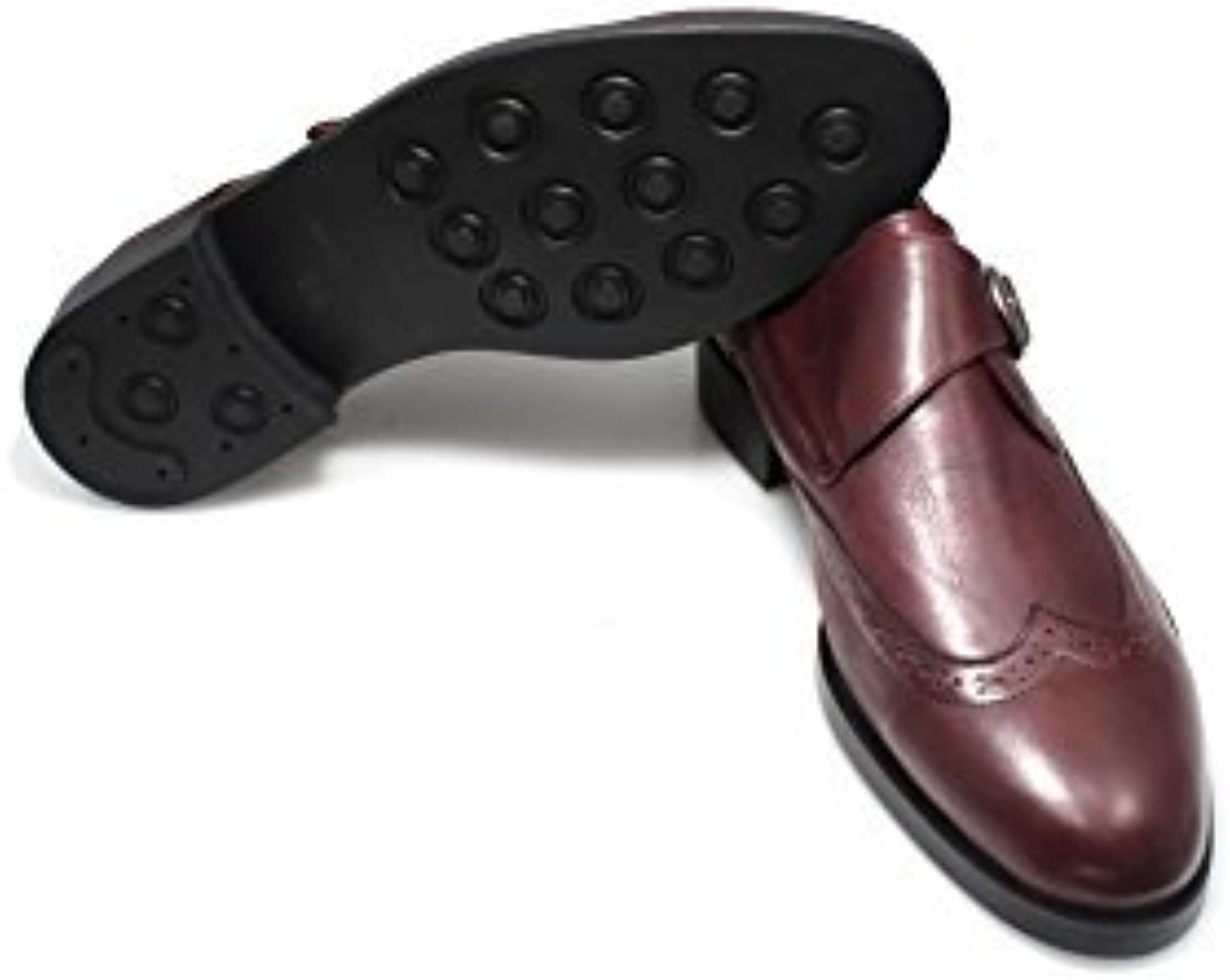 SMYTHE & DIGBY Mens Calf Leather Cordovan Single Monk Strap Wingtip Dress shoes