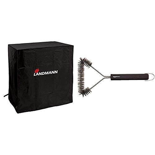 Landmann Quality - Wetterschutzhaube M, Aufbaum, Schwarz (Anthrazit), 85 x 100 x 50 cm & Amazon Basics - Grillbürste, dreieckig, 30,5cm