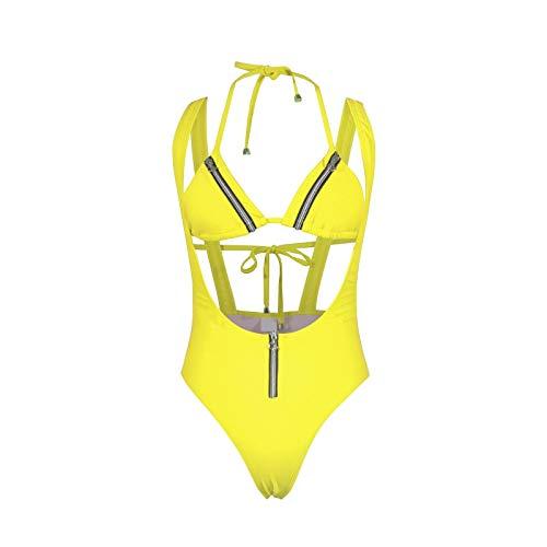 DIPOLA Damen Zipper Volltonfarbe Siamese Bikini One Piece Damen High Waist Bikini Zipper Volltonfarbe Halter Bademode Bademode Damen sexy unterwäsche Damen Badeanzug