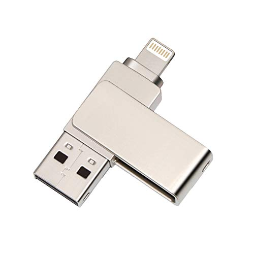 USB 3.0 Swivel Design Memory Stick, Pen Drive External Storage, Durable Metal 2 in 1 Photo Stick High Speed Flash Drive Compatible with iPhone 12/11/XS/XR/X/8 Plus/7/6s/5 (128GB)