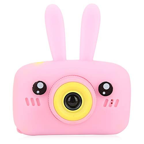 Dpofirs Mini Cámara Portátil con 2 Pulgadas HD 1080P Pantalla de Color, Linda Cámara con Cordón para Niños, Soporte Tarjeta de Memoria Máxima de 32G, Regalo para Cumpleaños de Niños(Rosa)