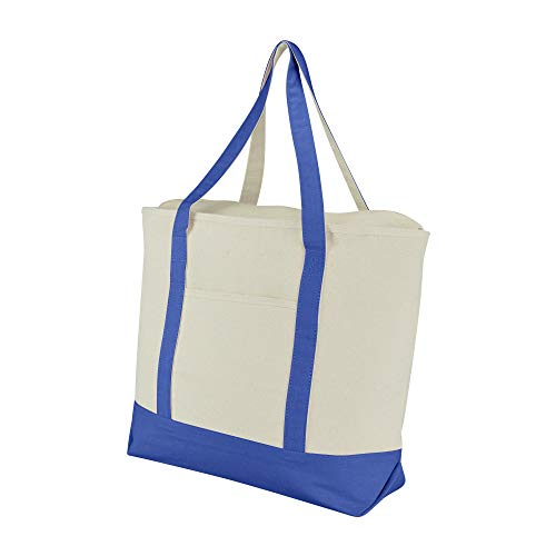 DALIX 22' Large Cotton Canvas Zippered Shopping Tote Grocery Bag in Royal Blue