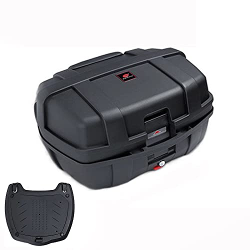 HGTRH Baul Moto Desmontable, BaúL Moto 47 litros - 56x43x33cm Puede Contener Dos Cascos, Maletas Moto Universal BaúLes para Moto con Desenganche RáPido Base Incluida y Respaldo