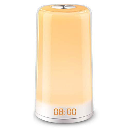 Lichtwecker, COOLWEST LED Wake Up Licht mit Sonnenaufgang Simulation/Snooze/5 Naturgeräuschen/ 3 Helligkeitsstufen RGB Nachtlicht Nachttischlampe für Erwachsene und Kinder