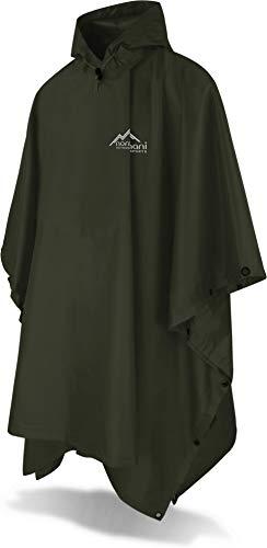 normani Outdoor Sports Regenponcho mit Kapuze - Wassersäule: 6000 mm - Regenjacke für Damen und Herren Farbe Olive