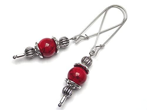 Pendientes Thurcolas de estilo vintage en turquesa rojo reconstituido montados sobre elegantes aros de acero inoxidable