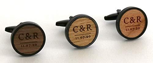 Manschettenknöpfe aus Holz personalisiert mit Gravur Initialien und Datum, Geschenk für Herren, Männer, Bräutigam, Edelstahl mit Holz Nussbaum, Kirschbaum, Eiche