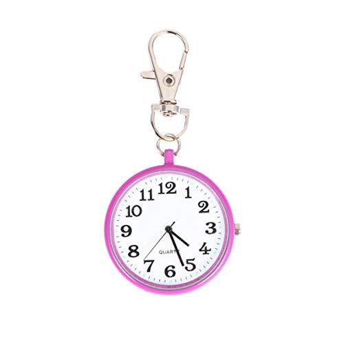NICERIO Reloj de Bolsillo Redondo Llavero Reloj Reloj de Bolsillo de Cuarzo con Hebilla de Llave Reloj Unisex portátil Unisex para niños Hombres Enfermeras - Rosa roja