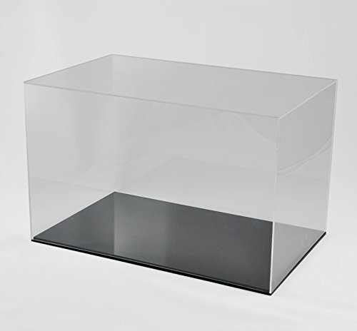 Hansen Vitrine Acryl/Schaukasten/Objektvitrine/Showcase rechteckig, 200x320x100 mm, mit schwarzem Boden