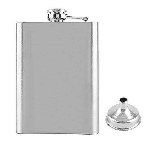 Zerodis - Fiaschetta portatile in acciaio inox, con fiaschetta e fiaschetta per whisky, liquore, vino, alcol, con imbuto (226,8 g)