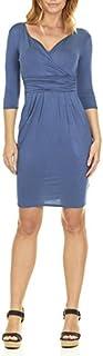 فستان حريمي أساسي بأكمام على شكل حرف V من Seranoma - 3/4 كم التفاف قلم رصاص مع جيوب