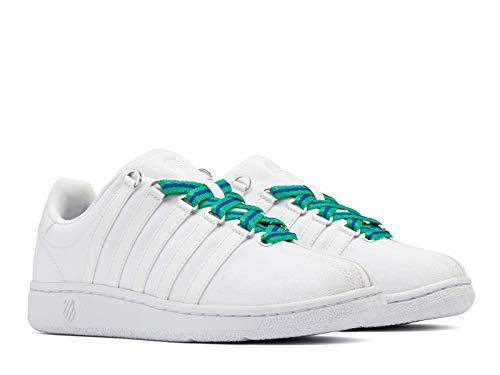 K-Swiss Damen Classic VN Textile Sneaker, Weiß/Weiß/Silber, 36 EU
