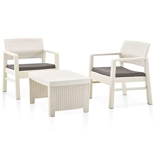 vidaXL Juego de Muebles Jardín 3 Piezas Terraza Patio Conjunto Casa Exterior Comedor Aire Libre Mesa Silla Asientos Plástico Blanco