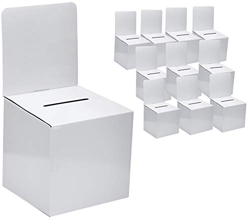 MCB - Cardboard Ballot Box - Donation Box - Suggestion Box (10 Pack) Medium Size 6 x 6 x 12 inches with removable header, Great for Charity, Voting, wide slot for Raffle, Tickets