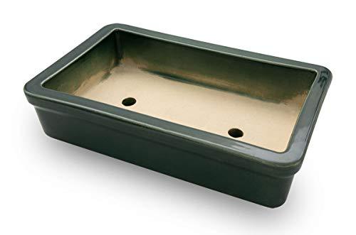 K&K Keramik Orginal Bonsaischale viereckig 29x18x7 frostsicher grün