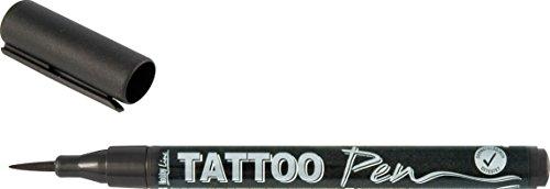 Kreul 62105 - Tattoo Pen schwarz, Strichstärke 0,5 - 3 mm, Kosmetiktinte auf Wasserbasis, hält bis zu 5 Tage, dermatologisch getestet, vegan, parabenfrei
