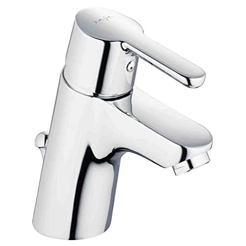 KAJA Grifo de lavabo para el baño con desagüe excéntrico y barra de tracción en color rojo – Grifo mezclador monomando caliente frío para un agujero grifo de lavabo fabricado en Alemania