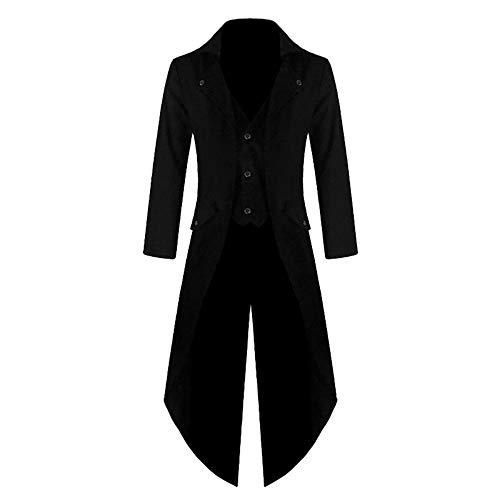 Shujin Herren Vintage Frack Steampunk Gothic Jacke Viktorianischen Langer Mantel Fasching Karneval Cosplay Kostüm Smoking Jacke Uniform (Schwarz, L)