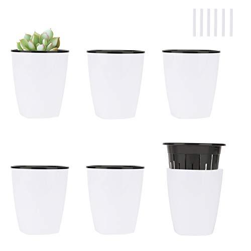Ulikey 6pcs Pots à Fleurs d'arrosage Automatique, Pots de Fleurs, Bac à Fleurs Auto-Irrigation Rond avec Système d'Arrosage, Pots Balcon Home Decor Décoration (Blanc)