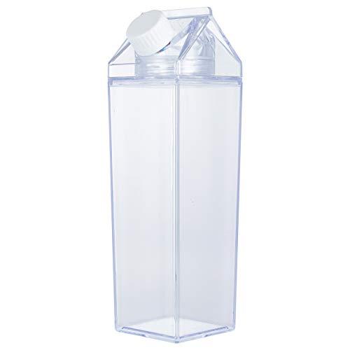 AUXSOUL Botella de agua de cartón de leche transparente de 500 ml, vaso de agua para zumos, portátil, cuadrado, reutilizable, de plástico, para actividades al aire libre, viajes, camping