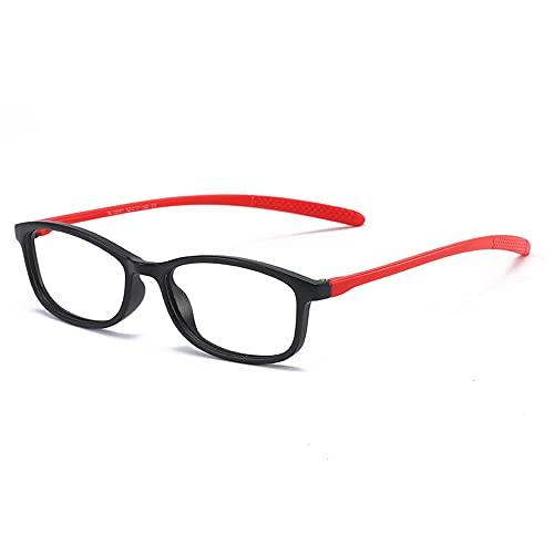 Zwart/rood mode high-definition leesbril anti-blauw licht beschermende leesbril full-frame siliconen materiaal high-definition anti-blauwe lens anti-blauw licht/vermoeidheid verminderen