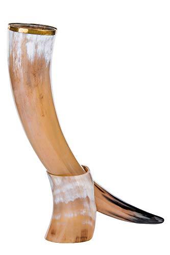 Bhartiya Handicrafts - Jarra para beber con cuerno de buey de estilo vikingo de Juego de Tronos | Taza vikingo para oso, Ale Authentic Ox Horn | 14 oz