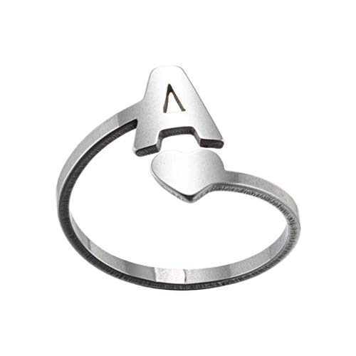 Gazaar Anillo de alfabeto con letra inicial, anillo abierto ajustable con...
