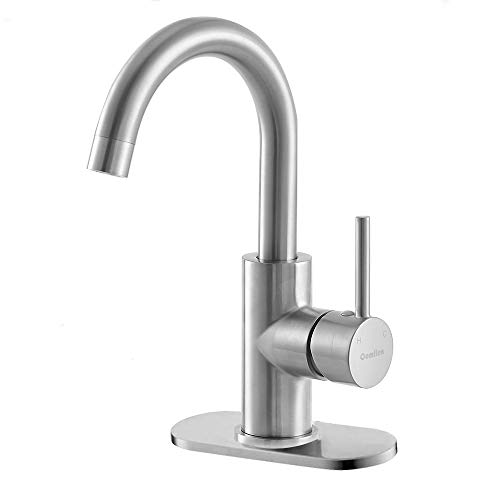 Comllen Best Commercial Single Handle Brushed Nickel Bathroom Faucet, Bar Sink Faucet Small Bar Faucet With Deck Plate And Supply Hose