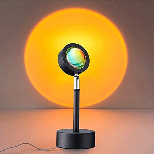 QAZW Lámpara Sunset,Luz LED de Proyección de Arco Iris de Rotación de 90 Grados, Luz Roja de Red con USB, Lámpara de Iluminación de Piso de Humor Visual Romántico para Niños Adultos,Sun